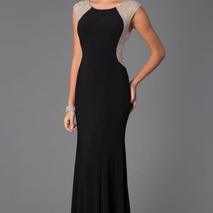 XSCAPE Sheer Beaded Gown BLACK Size 10 #86